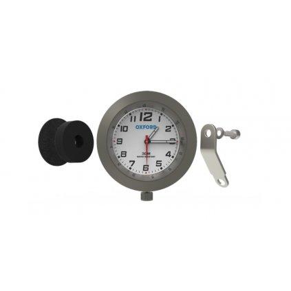 analogové hodiny, OXFORD - Anglie (stříbrný rámeček, luminiscenční ciferník)