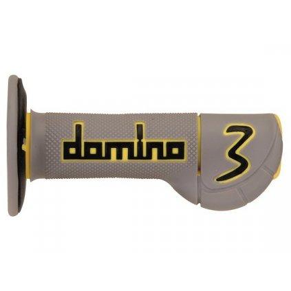 gripy (offroad) délka 118 mm, DOMINO (šedo-žluto-černé)