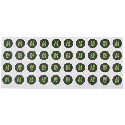 sada samolepek pro dodatečné označení velikosti přileb, ACI (černé/zelené, arch 40ks samolepek, velikost M)