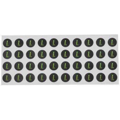 sada samolepek pro dodatečné označení velikosti přileb, ACI (černé/zelené, arch 40ks samolepek, velikost L)