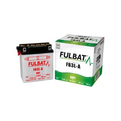 baterie 12V, FB3 l-A, 3,2Ah, 25A, konvenční 98x56x110 FULBAT (vč. balení elektrolytu)