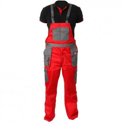 Pracovní kalhoty s laclem červenošedé letní ACI