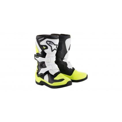 boty TECH 3S KIDS 2021, ALPINESTARS, dětské (černé/žluté fluo/bílé)