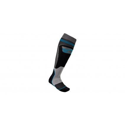 ponožky MX PLUS-1 2022, ALPINESTARS (černá/tyrkysová)