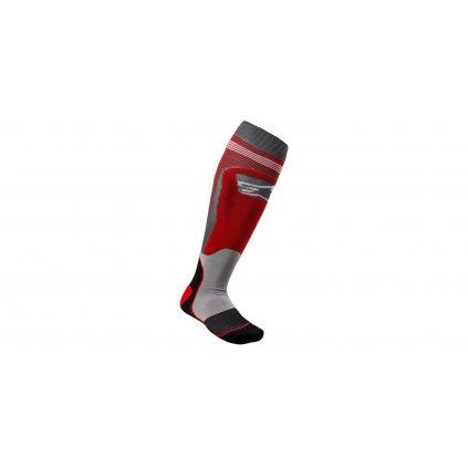 ponožky MX PLUS-1 2022, ALPINESTARS (červená/šedá)