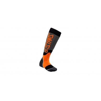 ponožky MX PLUS-2 2022, ALPINESTARS, dětské (šedá/oranžová fluo)