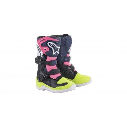boty TECH 3S KIDS 2021, ALPINESTARS, dětské (černá/modrá/růžová/žlutá fluo)