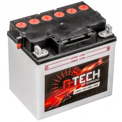 baterie 12V, 53030, 30Ah, 300A, pravá, konvenční 186x130x171, A-TECH (vč. balení elektrolytu)