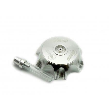 pitbike CNC hliníkové víčko palivové nádrže s logem Stomp stříbrné
