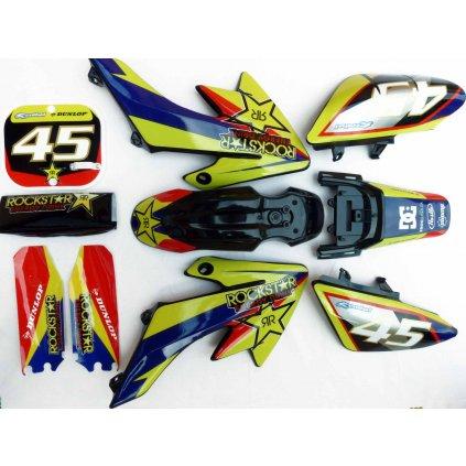 pitbike černé plasty CRF50 s polepy Rockstar/žluté, Stomp, DemonX, WPB