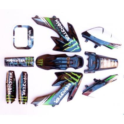 pitbike černé plasty CRF50 s polepy monster, Stomp, DemonX, WPB