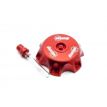 pitbike CNC hliníkové víčko palivové nádrže s logem Stomp červené