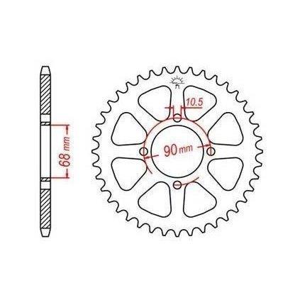 ocelová rozeta pro sekundární řetězy typu 520, JT - Anglie (42 zubů)