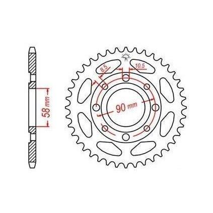 ocelová rozeta pro sekundární řetězy typu 428, JT - Anglie (34 zubů)