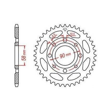 ocelová rozeta pro sekundární řetězy typu 428, JT - Anglie (36 zubů)