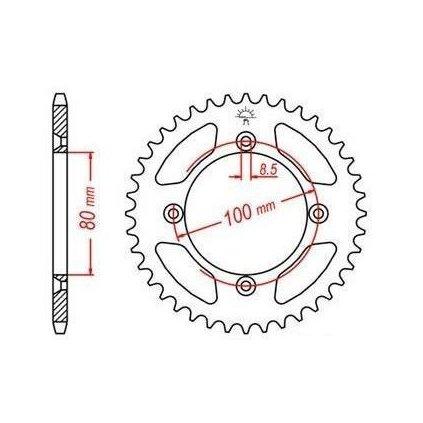 ocelová rozeta pro sekundární řetězy typu 420, JT - Anglie (45 zubů)
