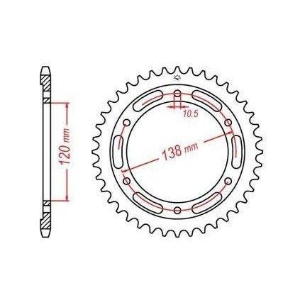 ocelová rozeta pro sekundární řetězy typu 520 JT - Anglie (38 zubů)