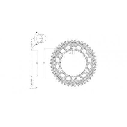 duralová rozeta pro sekundární řetězy typu 520, SUNSTAR (42 zubů)