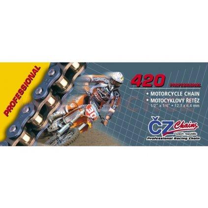 řetěz 420MX, ČZ (barva zlatá, 100 článků vč. rozpojovací spojky CLIP)