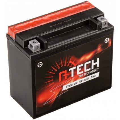 baterie 12V, YTX20L-BS, 18Ah, 270A, bezúdržbová MF AGM 175x87x155, A-TECH (vč. balení elektrolytu)