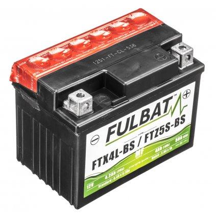 baterie 12V, YTX4L-BS, 3Ah, 50A, bezúdržbová MF AGM 114x71x86, FULBAT (vč. balení elektrolytu)
