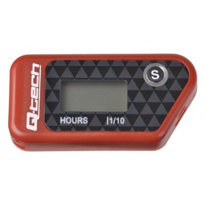 měřič motohodin bezdrátový s nulovatelným počítadlem, Q-TECH (červený)