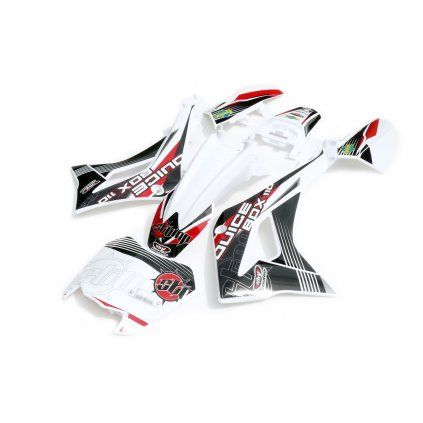 pitbike bílé plasty CRF50 Detroit s polepy Juicebox