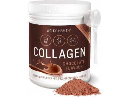 WoldoHealth 190804 Collagen Chocolate 02 Front Loeffel Pulver
