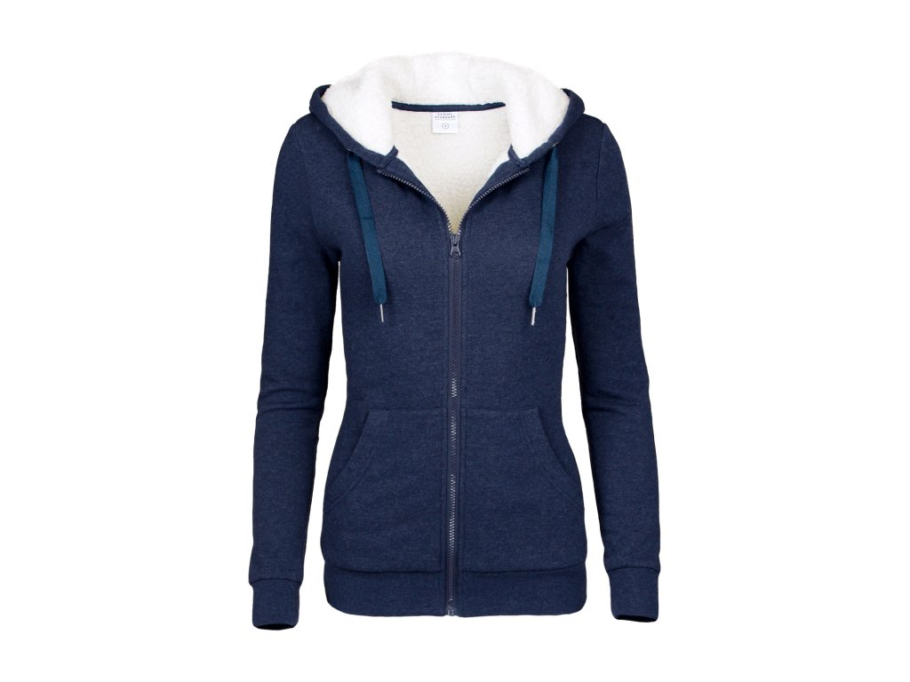 casual standart damen hoodie kuschel sweatjacke blau 07a