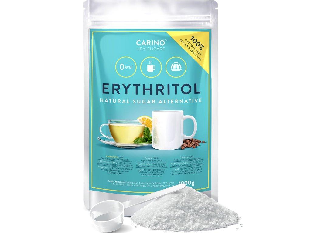 Carino Erythrit Beutel 1000g Amazon 01 Front 1er Zucker