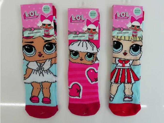 Ponožky dívčí (3 barvy) LOL, VELIKOST 23-34