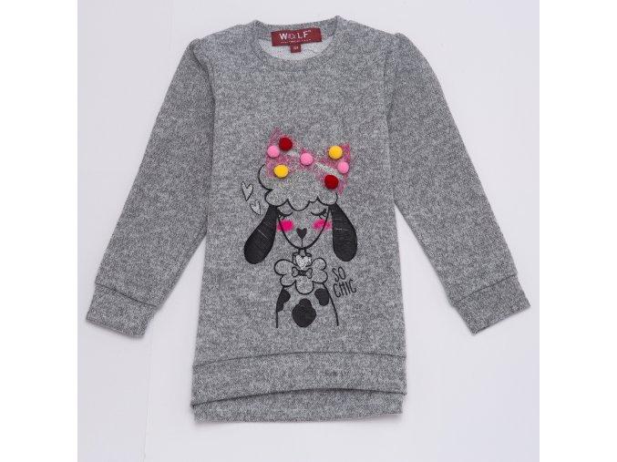 Tričko dívčí dlouhý rukáv teplejší  (2 barvy) WOLF, VELIKOST 104-134