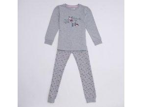 Pyžamo dívčí teplejší (šedý melír) WOLF