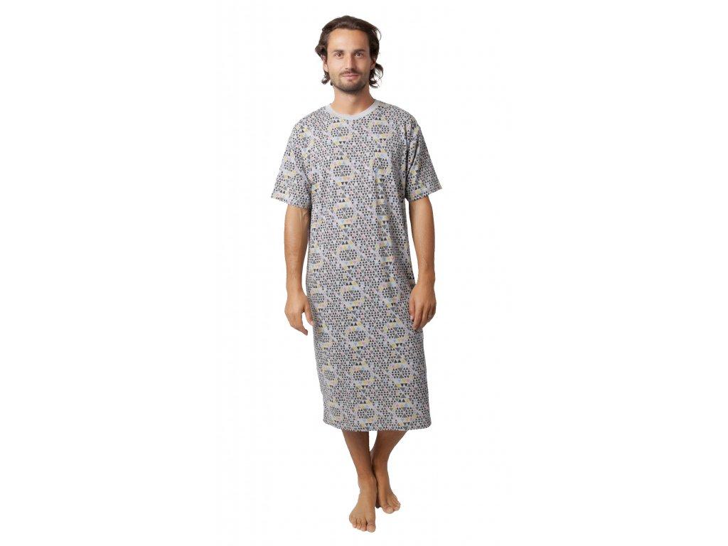 Pánská noční košile CALVI 18-407 - šedá - vzor