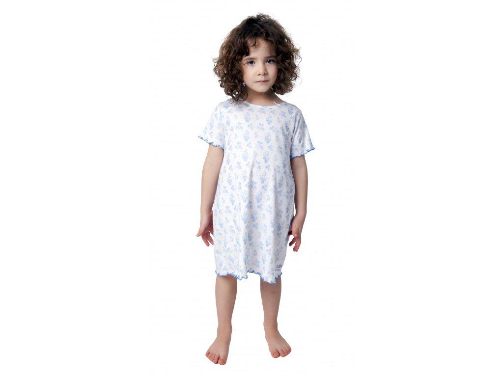 Dívčí noční košile CALVI 19-059 - bílá, modrý potisk