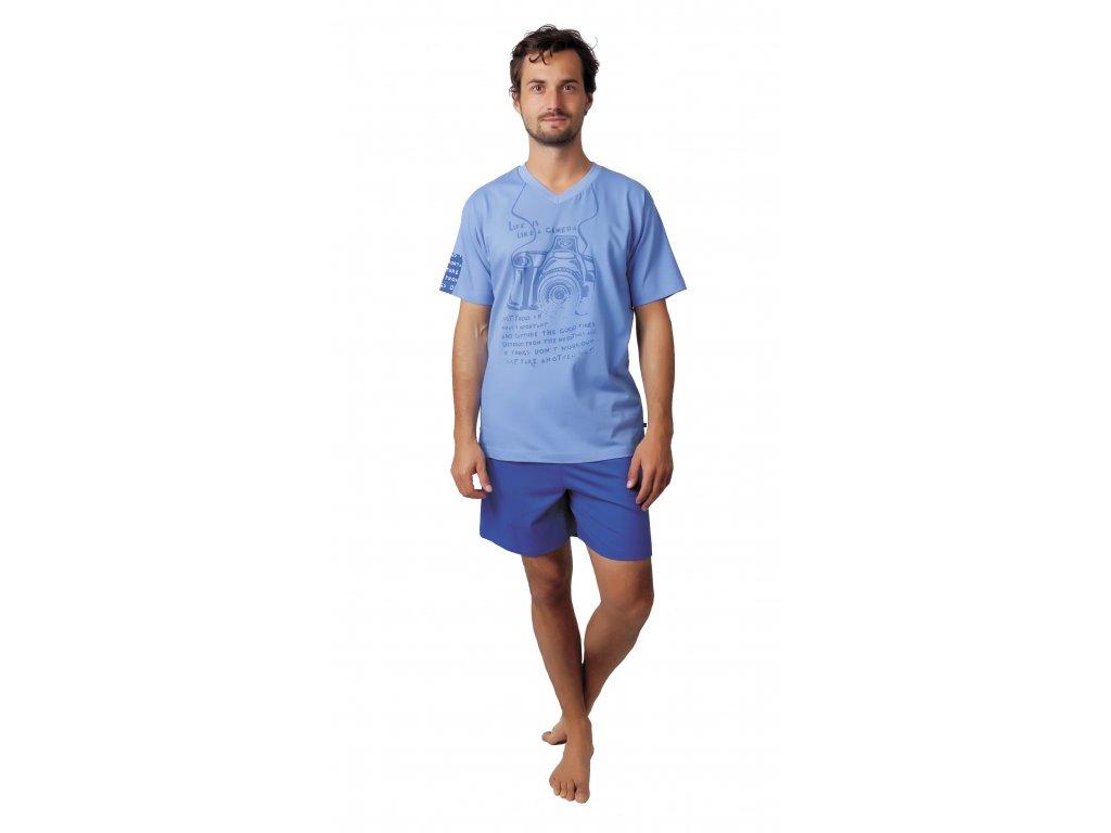 Pánské pyžamo s kraťasy CALVI 17-589 - sv. modré