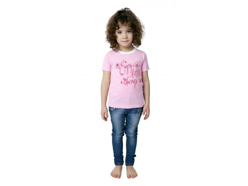 Dívčí triko CALVI 18-115 -růžové