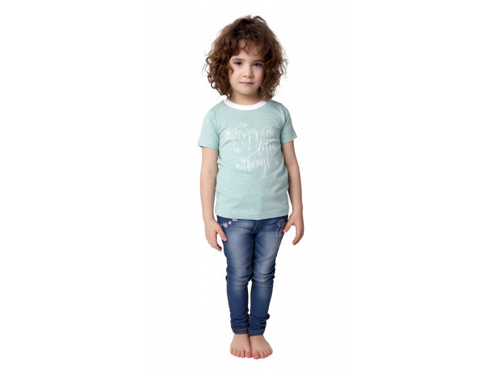Dívčí triko CALVI 18-115 - zelinkavé
