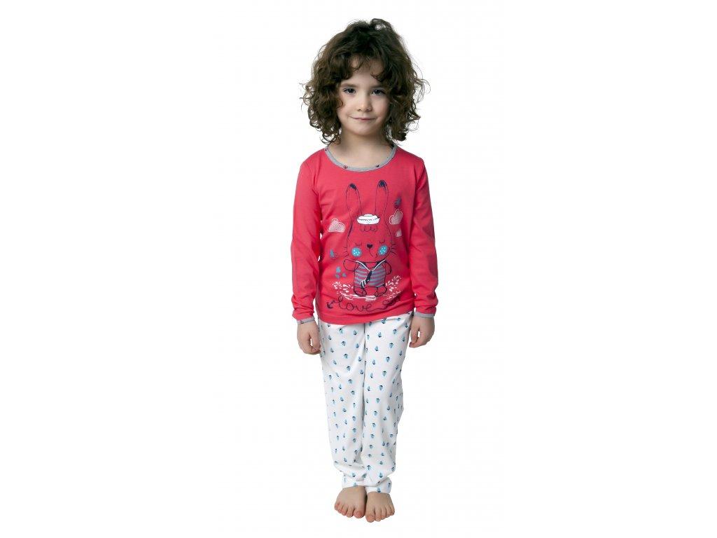 Dívčí pyžamo CALVI 19-077 - lososové
