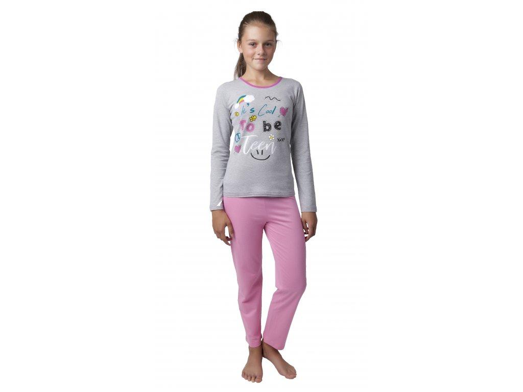 Dívčí pyžamo CALVI 18-425 - šedé