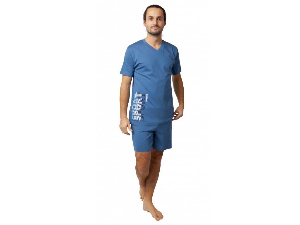 Pánské pyžamo s kraťasy CALVI 20-130 - petrolejové