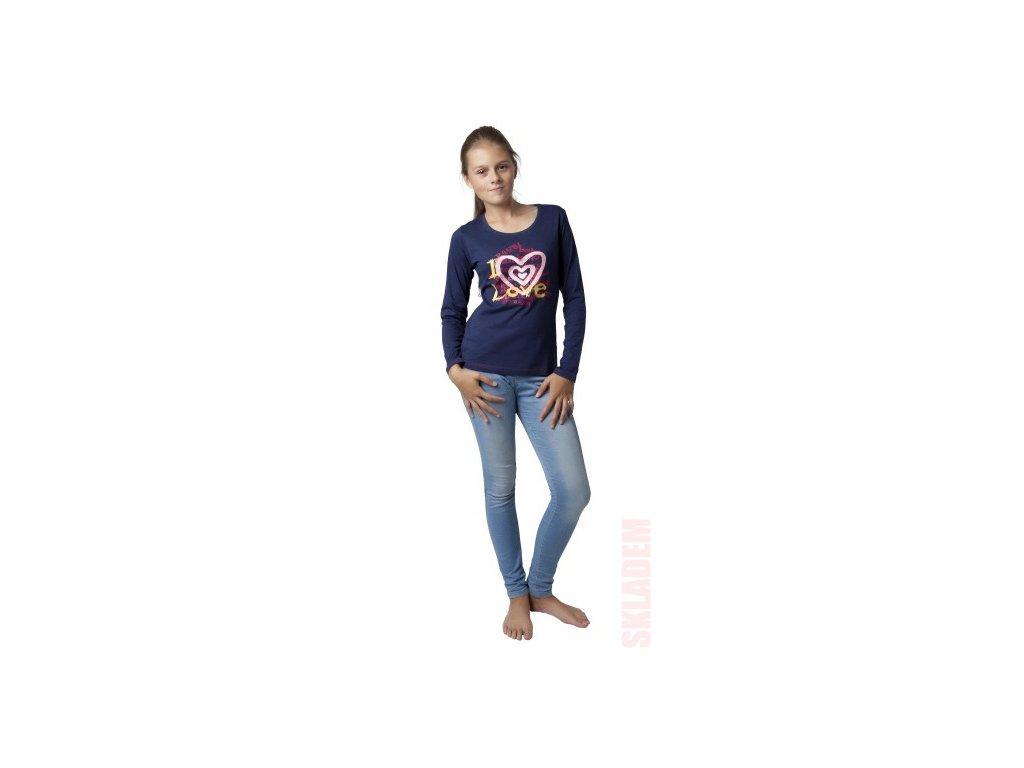Dívčí triko CALVI 16-407 - tm. modré
