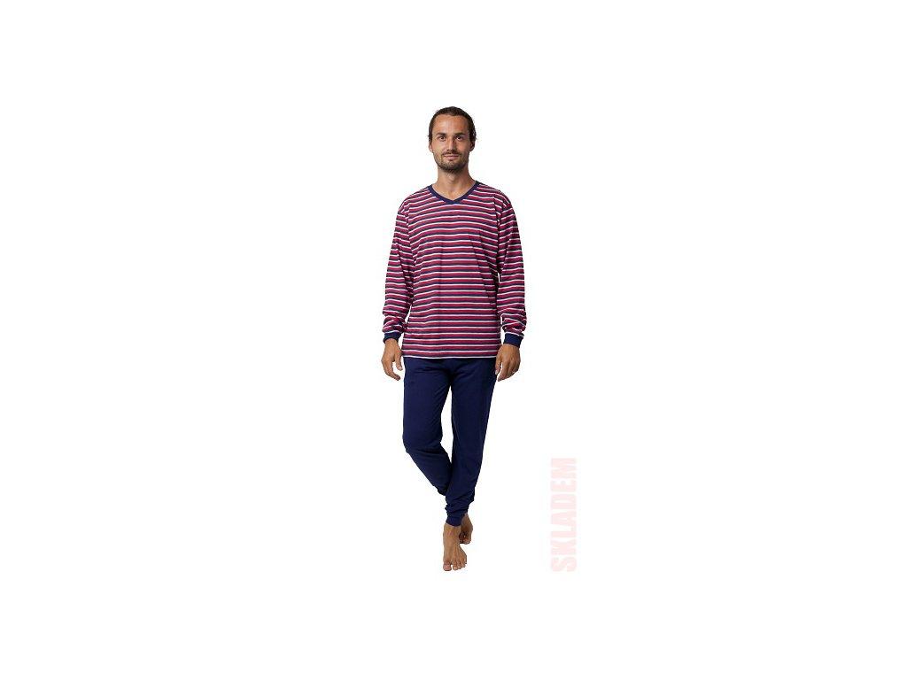 Pánské pyžamo CALVI 19-556 - červenomodré