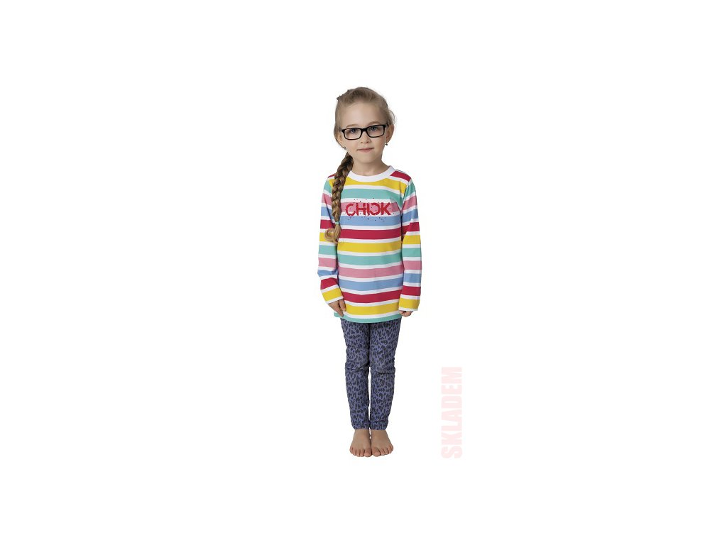 Dívčí triko CALVI 17-501 - barevné pruhy