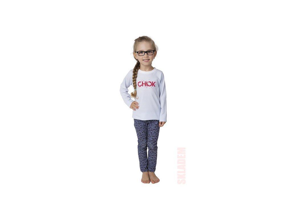 Dívčí triko CALVI 17-501 - bílošedé pruhy