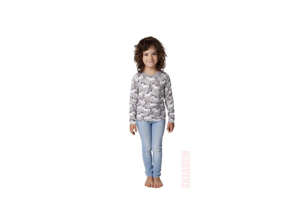 Dívčí triko CALVI 19-450 - koníci, šedý lem u krku