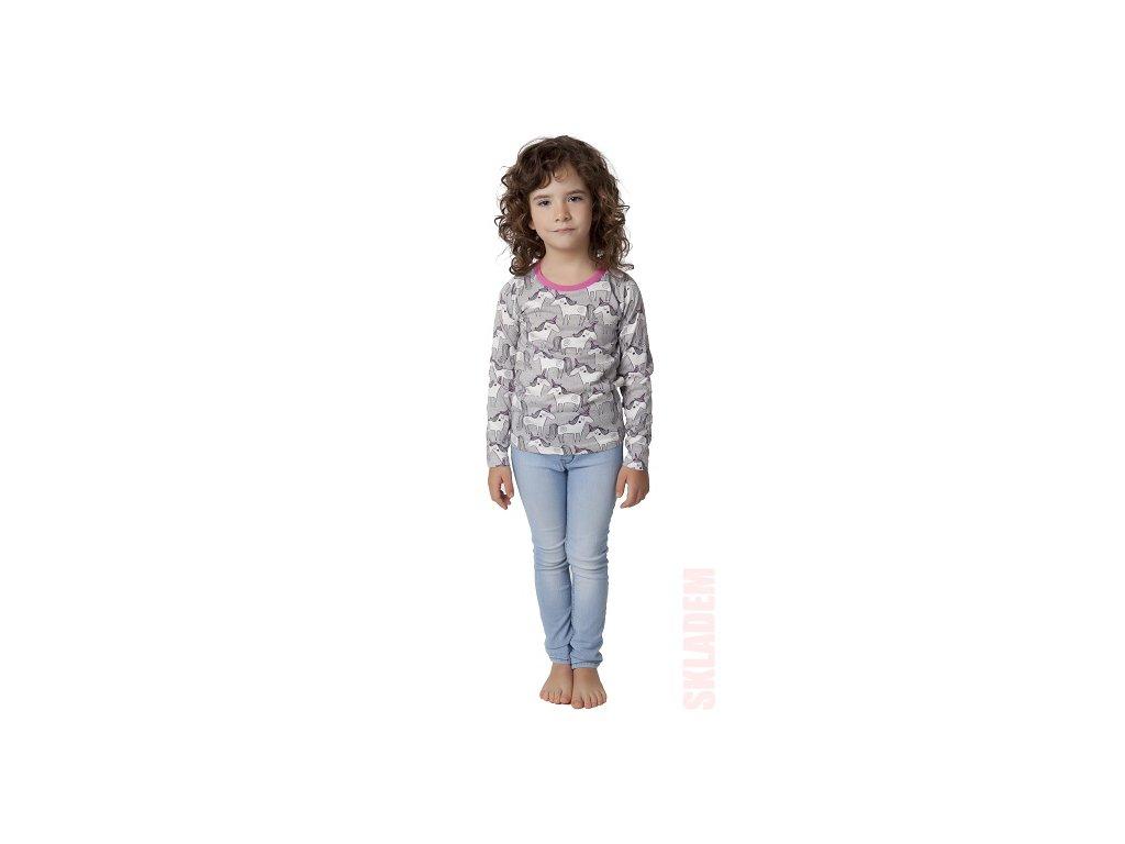 Dívčí triko CALVI 19-450 - koníci, růžový lem u krku