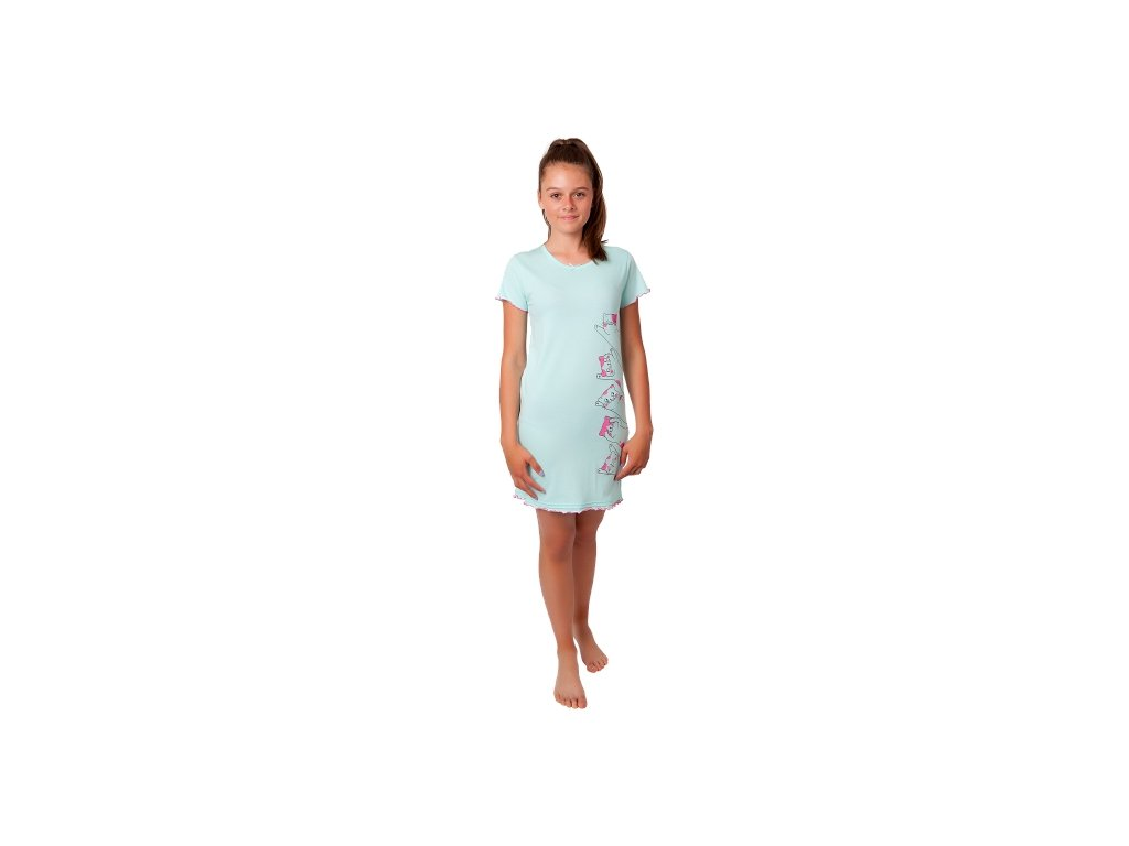 Dívčí noční košile CALVI 20-322 - zelinkavá