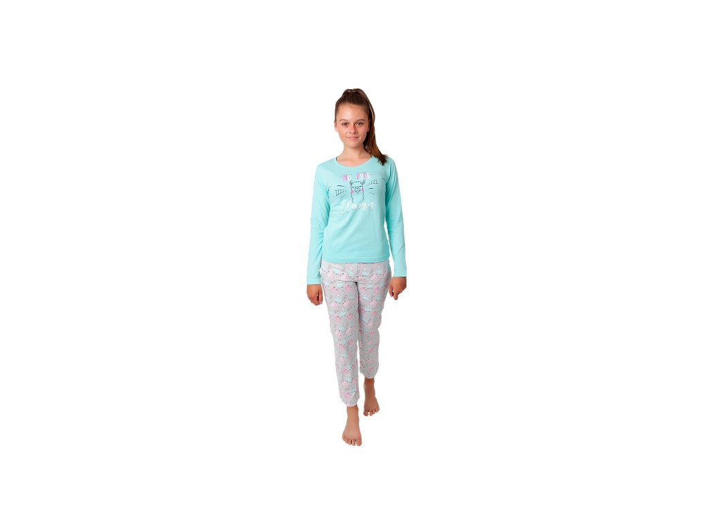 Dívčí pyžamo CALVI 20-324 - zelinkavé
