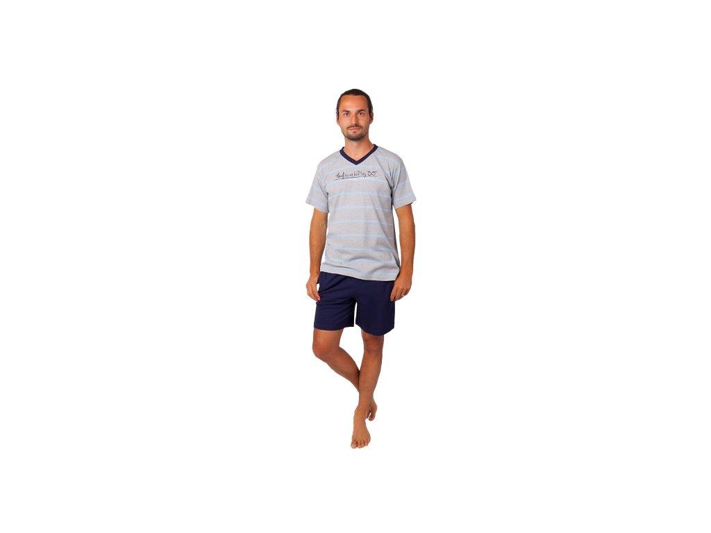 Pánské pyžamo CALVI 20-369 - šedé, tm. modré trenky